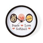 Peace Love Softball Wall Clock