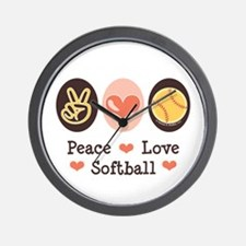 Peace Love Softball Wall Clock