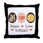 Peace Love Softball Throw Pillow