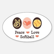 Peace Love Softball Oval Decal