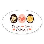 Peace Love Softball Oval Sticker