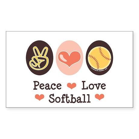 Peace Love Softball Rectangle Sticker