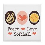 Peace Love Softball Tile Coaster