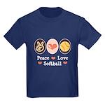 Peace Love Softball Team Kids Dark T-Shirt