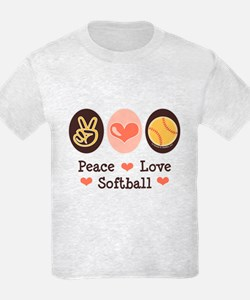 Peace Love Softball Team T-Shirt