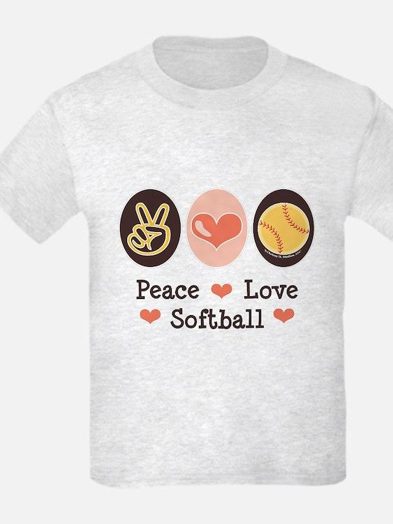 Peace Love Softball Team T-Shirt