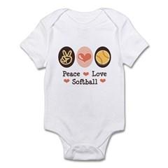 Peace Love Softball Infant Bodysuit
