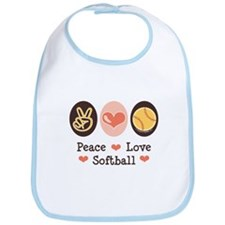 Peace Love Softball Bib
