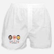 Peace Love Softball Team Boxer Shorts
