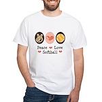 Peace Love Softball Team White T-Shirt