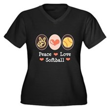 Peace Love Girls Softball Women's Plus Size V-Neck