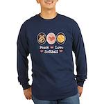 Peace Love Softball Team Long Sleeve Dark T-Shirt