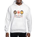 Peace Love Softball Team Hooded Sweatshirt