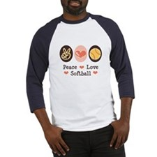 Peace Love Softball Team Baseball Jersey