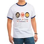Peace Love Softball Team Ringer T