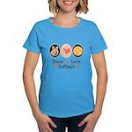 Peace Love Girls Softball Women's Dark T-Shirt