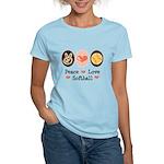 Peace Love Girls Softball Women's Light T-Shirt