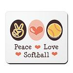 Peace Love Softball Team Mousepad
