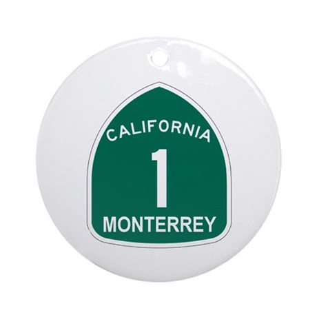 Monterrey, California Highway Ornament (Round)