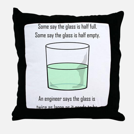 The Glass is Too Large Throw Pillow