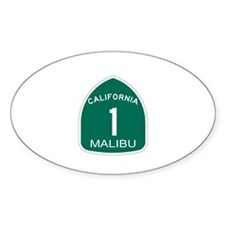 Malibu, California Highway 1 Oval Decal