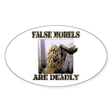 false morel mushroom Oval Sticker