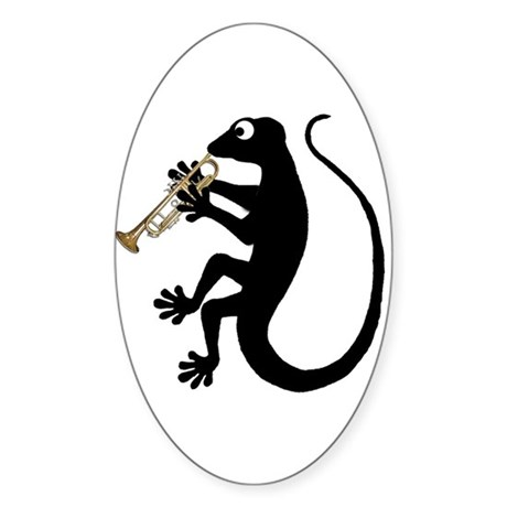 Gecko Trumpet Sticker (Oval)