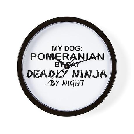 Pomeranian Deadly Ninja Wall Clock