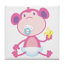 Pink Monkey Pacifier Tile Coaster