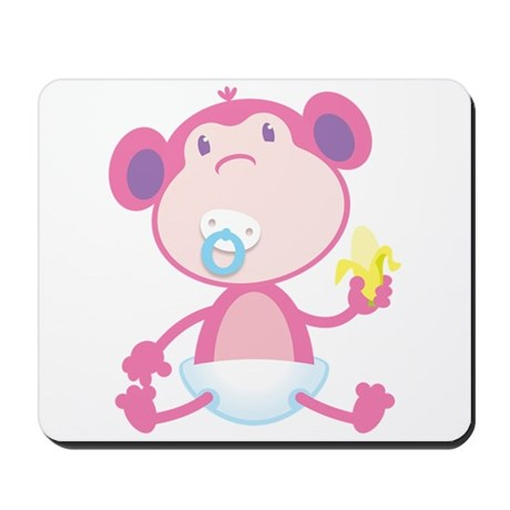 Pink Monkey Pacifier Mousepad
