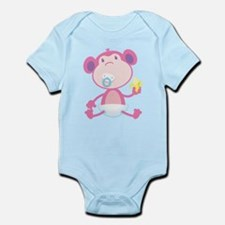 Pink Monkey Pacifier Infant Bodysuit