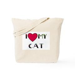 I LOVE MY CAT detroit Tote Bag