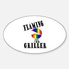 FLAMING GRILLER Oval Decal