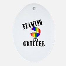 FLAMING GRILLER Oval Ornament