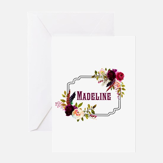 Personalized Floral Wreath Monogram Greeting Cards