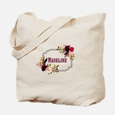 Personalized Floral Wreath Monogram Tote Bag