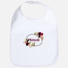 Personalized Floral Wreath Monogram Baby Bib