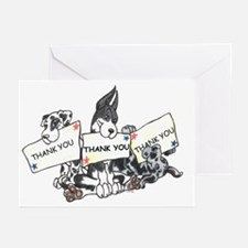 Trio Great Dane Pups Thank You Cards (10p)