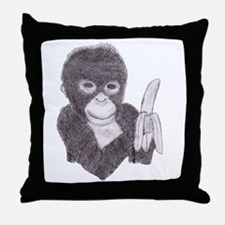 monkey holding a banana Throw Pillow