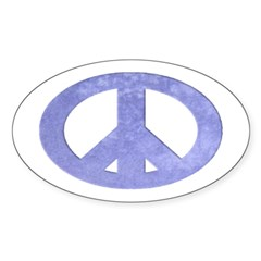 Blue Watercolor Peace Sign (oval bumper sticker)