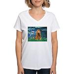 Lilies (5)/Cocker (br) Women's V-Neck T-Shirt
