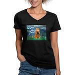Lilies (5)/Cocker (br) Women's V-Neck Dark T-Shirt