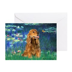 Lilies (5)/Cocker (br) Greeting Cards (Pk of 20)