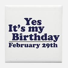 February 29th Birthday Tile Coaster