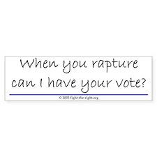 When you rapture (bumper sticker)