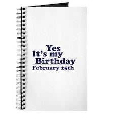 February 25th Birthday Journal