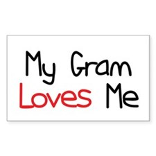 My Gram Loves Me Rectangle Bumper Stickers