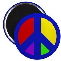 Multicolored Peace Sign (10 magnets)