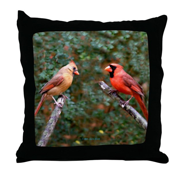 Right Two Cardinals Throw Pillow by funcritters