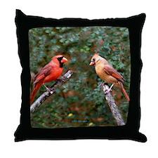 Left Two Cardinals Throw Pillow